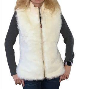 Roots Vintage Cream Faux Fur & Wool Vest Size L